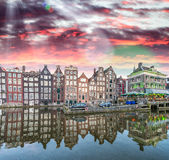 Amsterdam buildings reflections in canal Stock Photos