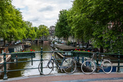 Amsterdam, byke parking over the canal. Stock Photos