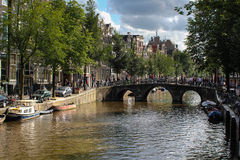 Amsterdam Canal. Typically Dutch canal in Amsterdam Stock Photos
