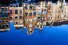 Amsterdam canal. Characteristic Amsterdam canal houses, reflected in the water of Keizersgracht on a December morning Royalty Free Stock Photo