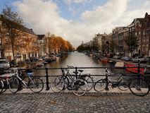 Amsterdam canal. Typical view of Amsterdam canal royalty free stock photography