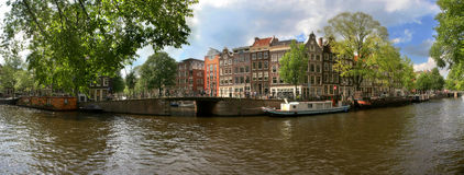 Amsterdam. Canal #3. Panoramic view of Amsterdam, Holland Royalty Free Stock Photography
