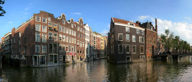 Amsterdam. Canal #4. Panoramic view of Amsterdam, Holland Stock Photo