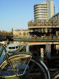 Amsterdam canal. Scenic view of canal with bicycle in foreground, Amsterdam city, Netherlands Stock Image