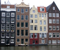 Amsterdam canal. Famous specific houses in Amsterdam Stock Photos