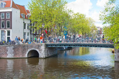 Amsterdam canal along the bank of the river in the spring. Netherlands. Stock Image