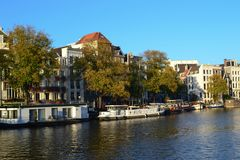 Amsterdam canal in autumn stock photos