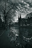 Amsterdam, canal and bicycles Royalty Free Stock Photo