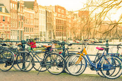 Amsterdam canal and bicycles Royalty Free Stock Image