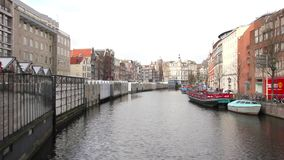 Amsterdam canal and bikes stock footage