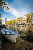 Amsterdam canal boat and streetscape, Netherlands stock image