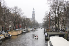 Amsterdam canal boating Royalty Free Stock Photo