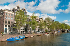 Amsterdam Canal with boats Royalty Free Stock Images