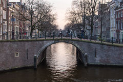 Amsterdam Canal Bridge Stock Photo