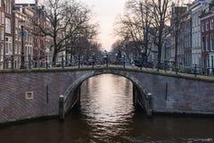 Amsterdam Canal Bridge Stock Photo