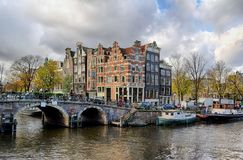 Amsterdam canal and bridge Stock Photo
