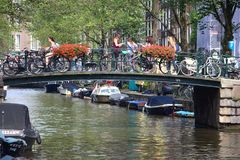 Amsterdam canal bridge Royalty Free Stock Photography