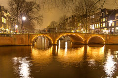 Amsterdam canal and bridge Stock Photography