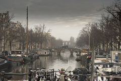 Amsterdam canal and buildings Royalty Free Stock Photo