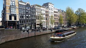 Amsterdam canal cruise boat Royalty Free Stock Photography