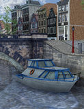 Amsterdam Canal, 3D CG Royalty Free Stock Photos