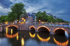 Amsterdam Canal at dusk Stock Photos