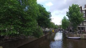 Amsterdam canal at the end of the day stock video