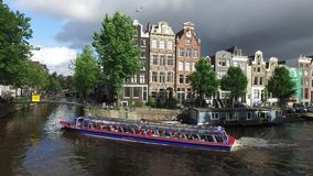 Amsterdam canal at the end of the day stock video footage