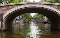 Amsterdam Canal and Five Bridges Stock Images
