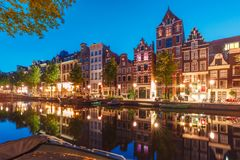 Night city view of Amsterdam canal Herengracht Royalty Free Stock Photo