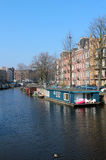Amsterdam Canal Houseboats Stock Photography