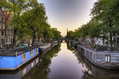 Amsterdam canal houseboats Royalty Free Stock Images