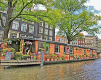 Amsterdam Canal Houseboats , Holland Royalty Free Stock Photo