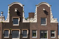 Amsterdam Canal Houses. The facades of two Amsterdam Canal houses, in Holland Stock Image