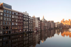 Amsterdam Canal Houses. In Early morning Stock Photography