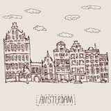 Amsterdam canal houses Royalty Free Stock Photo