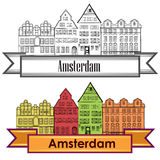 Amsterdam canal houses. Netherlands symbol. Travel Europe icon. Royalty Free Stock Image