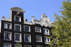 Amsterdam canal houses Royalty Free Stock Images