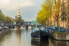 Amsterdam canal life in early spring Royalty Free Stock Photo