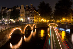 Amsterdam canal lights Royalty Free Stock Photography