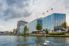 Amsterdam canal and modern building, Holland Royalty Free Stock Image