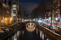 Amsterdam canal at night Royalty Free Stock Image