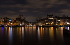 Amsterdam canal at night Stock Image