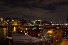 Amsterdam canal at night Royalty Free Stock Images