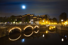 Amsterdam canal on night panorama Royalty Free Stock Image