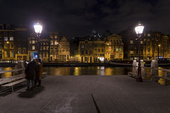 Amsterdam canal at night Stock Photo