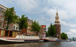 Amsterdam canal Oudeschans and tower Montelbaanstoren, Holland, Royalty Free Stock Photography