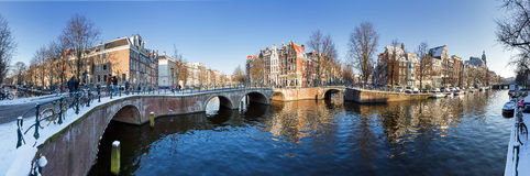 Amsterdam canal panorama Stock Photo