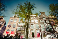 Amsterdam canal reflections Royalty Free Stock Photography