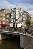Amsterdam canal scene with bicycles and bridges. Holland stock photo